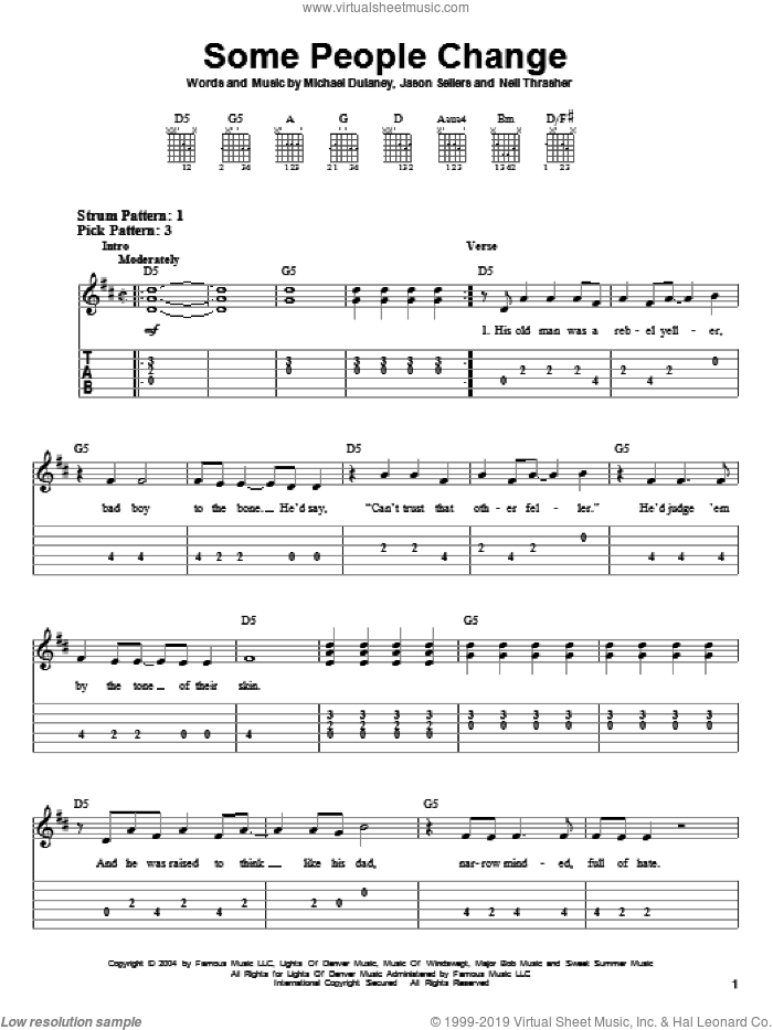 Some People Change sheet music for guitar solo (easy tablature) by Neil Thrasher, Kenny Chesney, Montgomery Gentry, Jason Sellers and Michael Dulaney. Score Image Preview.