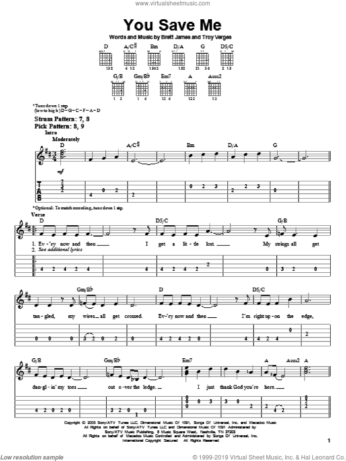 You Save Me sheet music for guitar solo (easy tablature) by Troy Verges