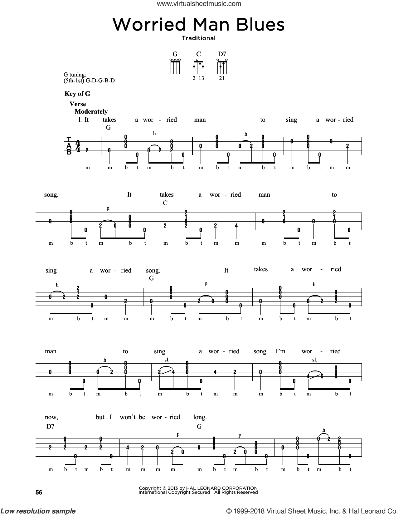 Worried Man Blues sheet music for banjo solo by Greg Cahill and Michael J. Miles, intermediate skill level