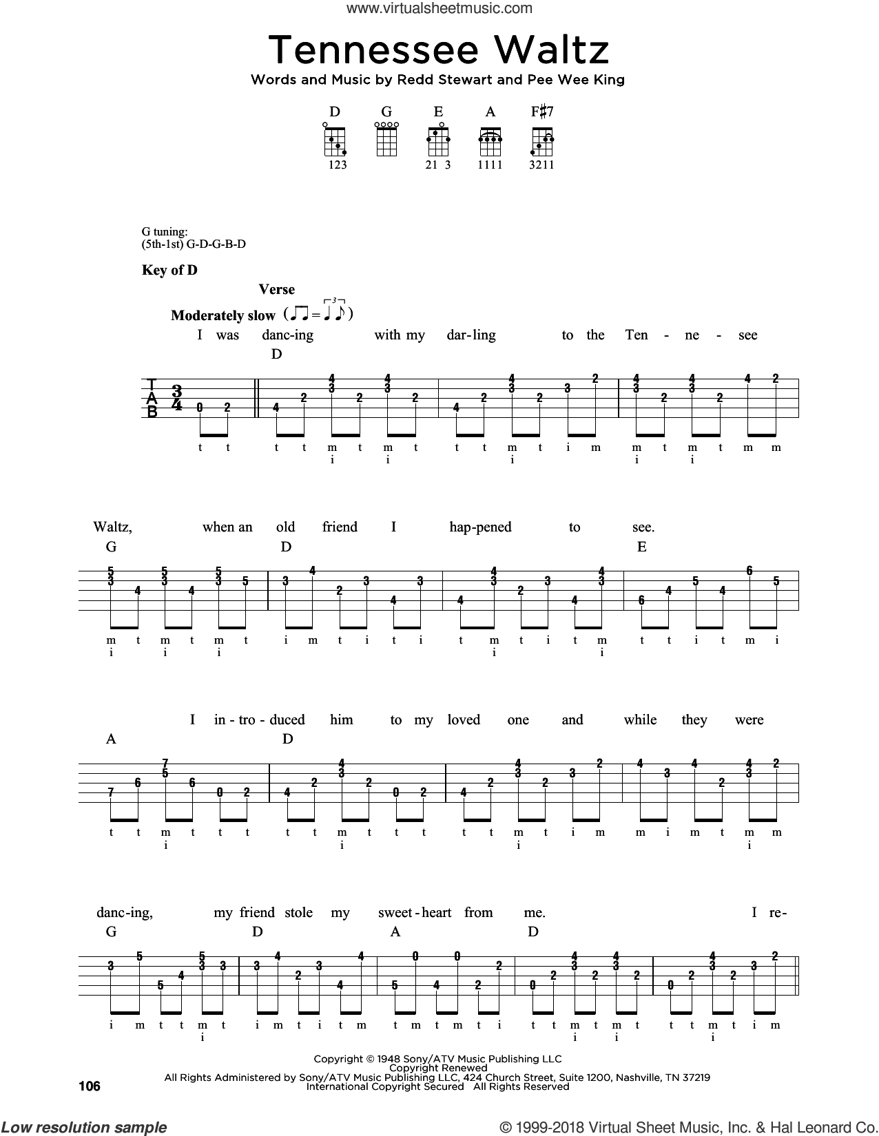Tennessee Waltz sheet music for banjo solo by Pee Wee King, Greg Cahill, Michael J. Miles, Patti Page, Patty Page and Redd Stewart, intermediate skill level