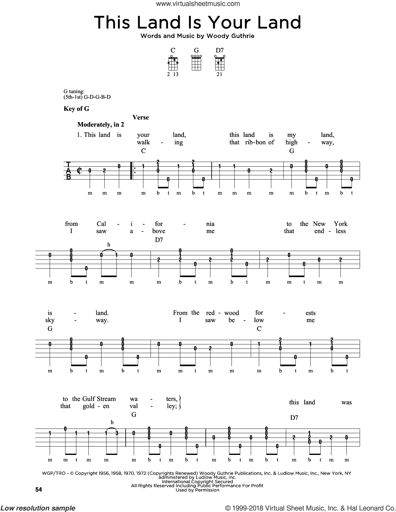 This Land Is Your Land sheet music for banjo solo by Woody Guthrie, Greg Cahill, Peter, Paul & Mary and Woody & Arlo Guthrie. Score Image Preview.