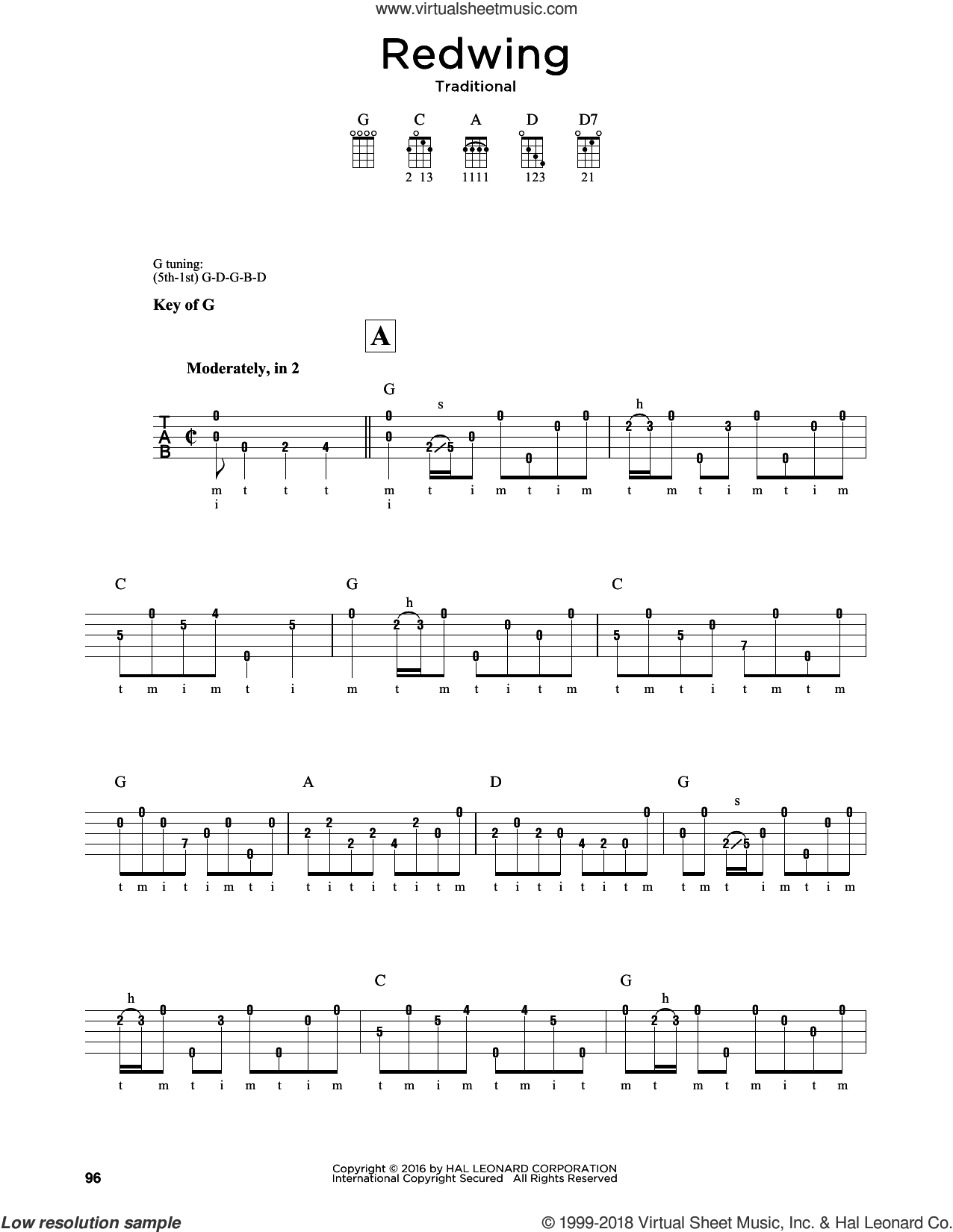 Redwing sheet music for banjo solo by Greg Cahill and Michael J. Miles, intermediate skill level