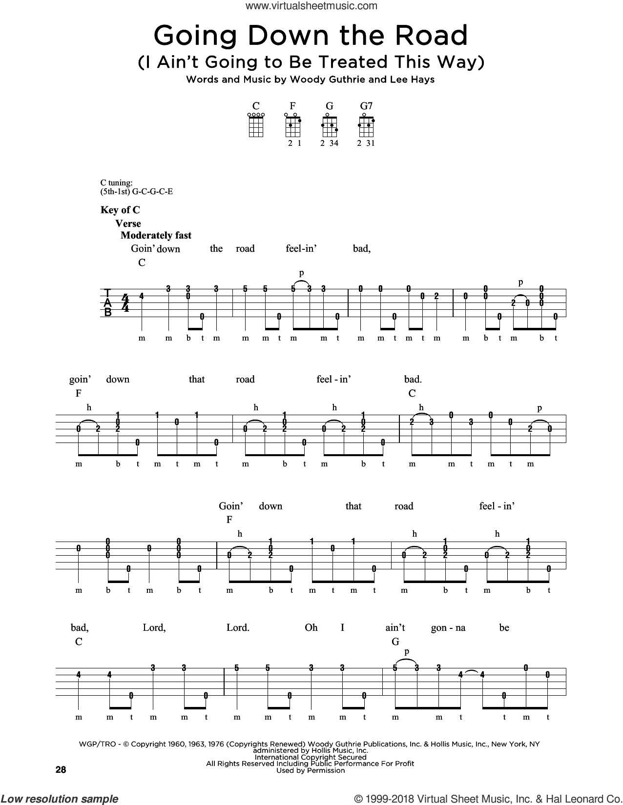 Going Down The Road (I Ain't Going To Be Treated This Way) sheet music for banjo solo by Woody Guthrie, Greg Cahill, Michael J. Miles and Lee Hays, intermediate skill level