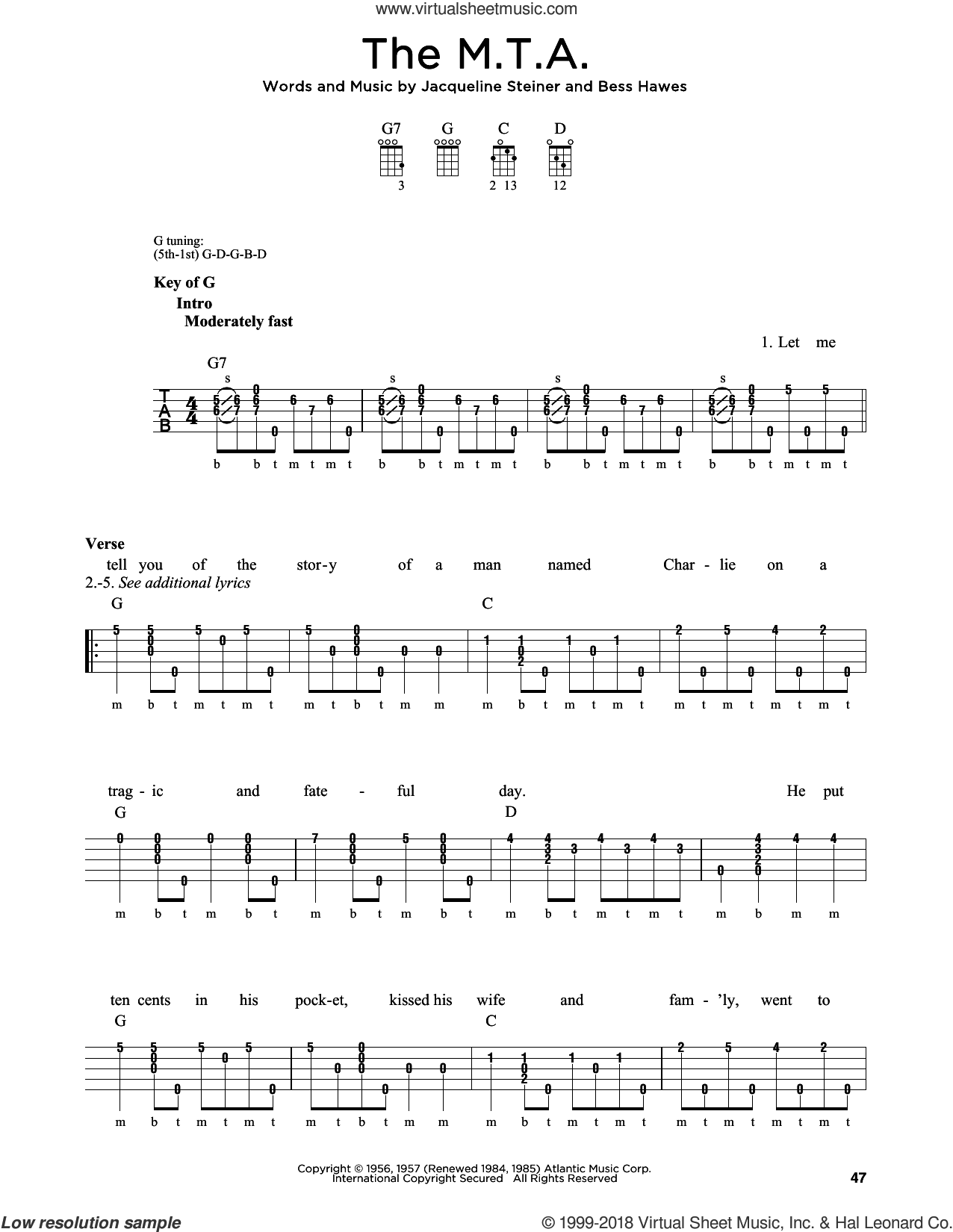 The M.T.A. sheet music for banjo solo by Greg Cahill, Michael J. Miles, The Kingston Trio, Bess Hawes and Jacqueline Steiner, intermediate skill level