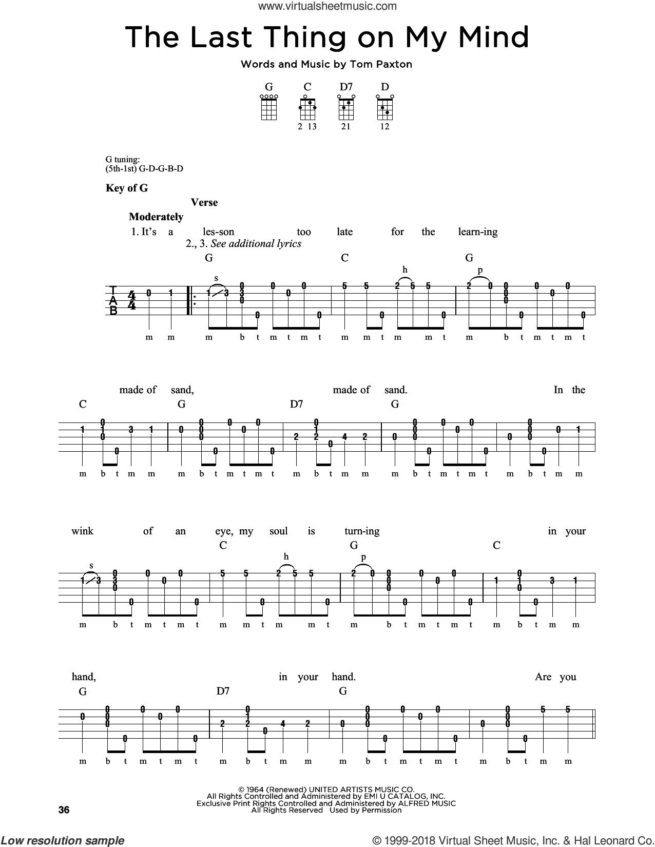 The Last Thing On My Mind sheet music for banjo solo by Tom Paxton, Greg Cahill and Michael J. Miles, intermediate skill level