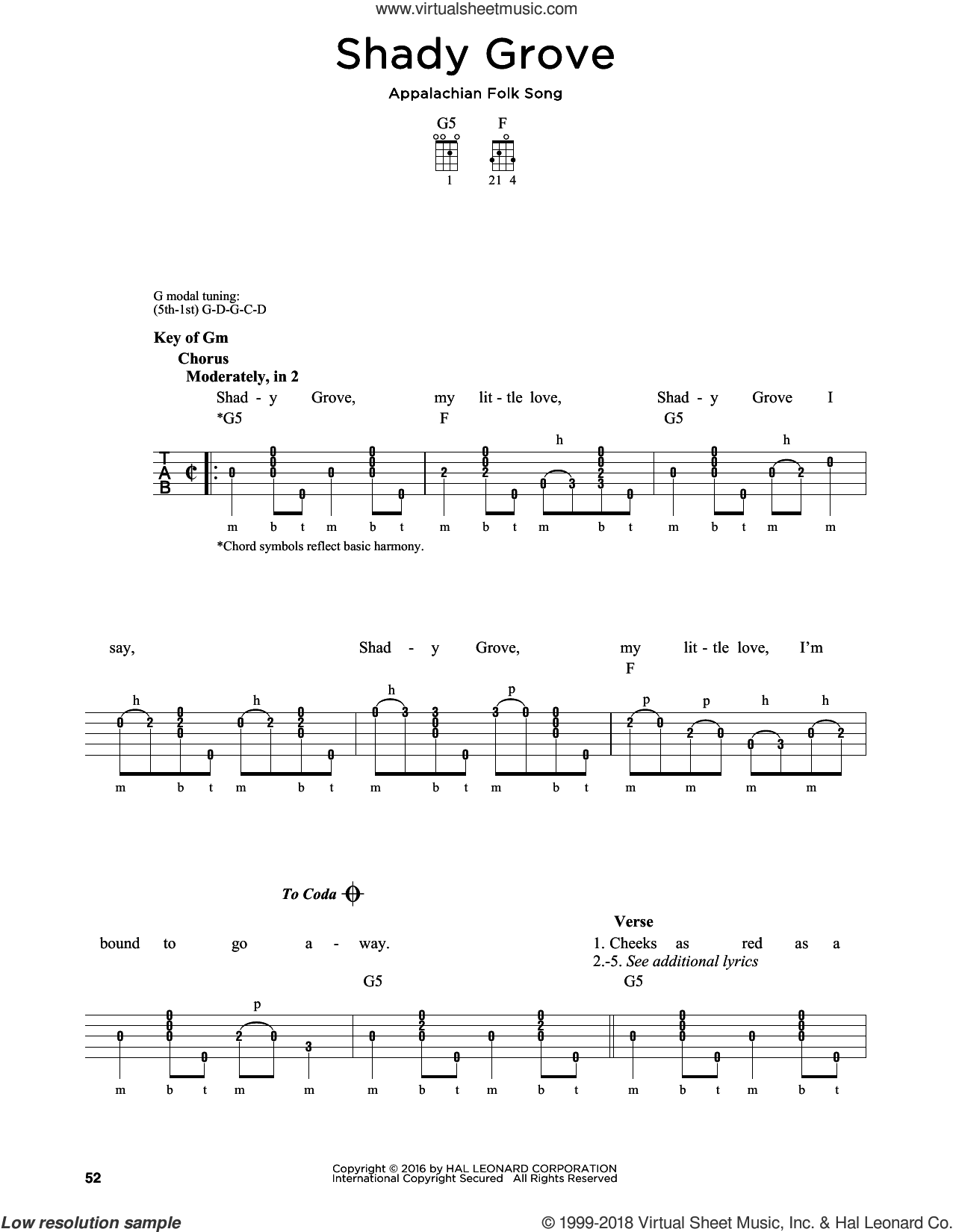 Song - Shady Grove sheet music for banjo solo [PDF]