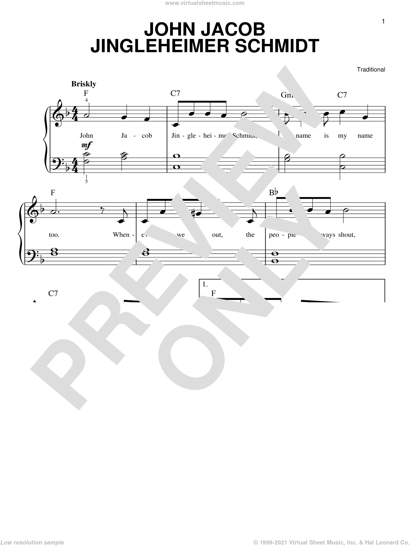 John Jacob Jingleheimer Schmidt sheet music for piano solo, easy skill level