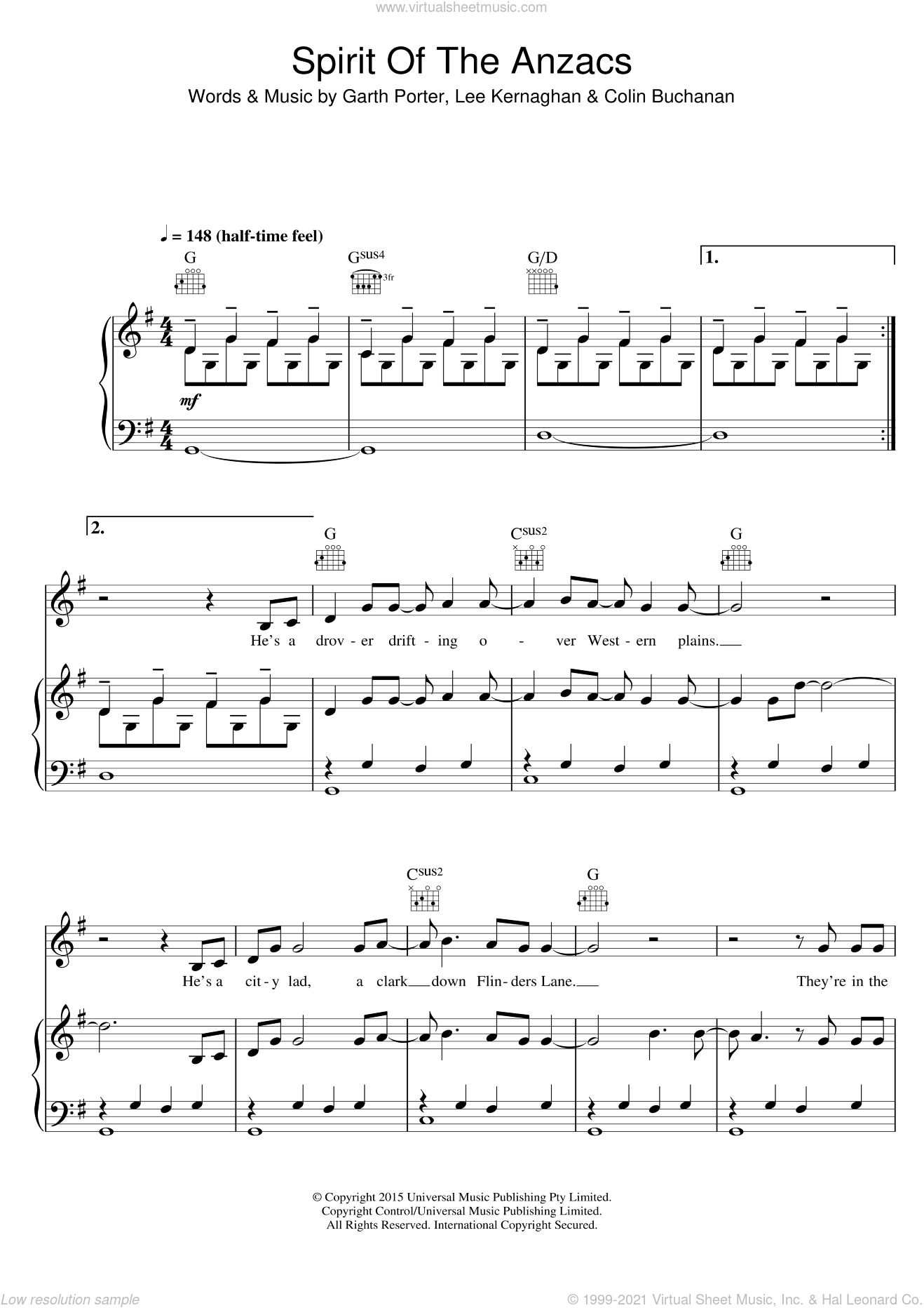 Spirit Of The Anzacs sheet music for voice, piano or guitar by Lee Kernaghan, Colin Buchanan and Garth Porter, intermediate skill level