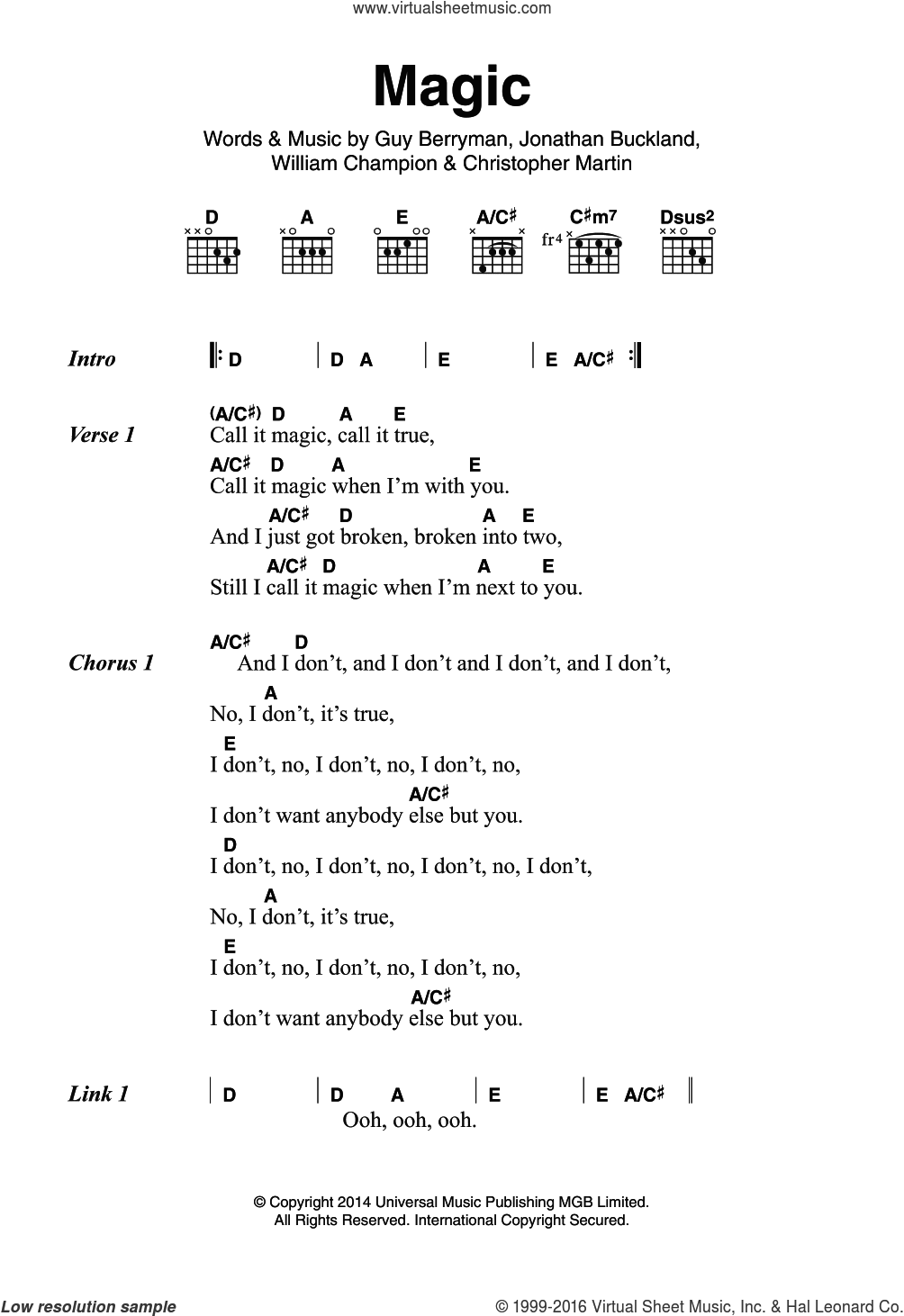 Magic sheet music for guitar (chords) by Christopher Martin, Coldplay, Guy Berryman and William Champion. Score Image Preview.