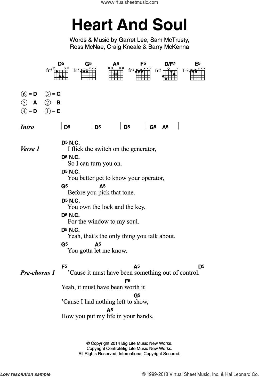 Atlantic - Heart And Soul sheet music for guitar (chords) [PDF]