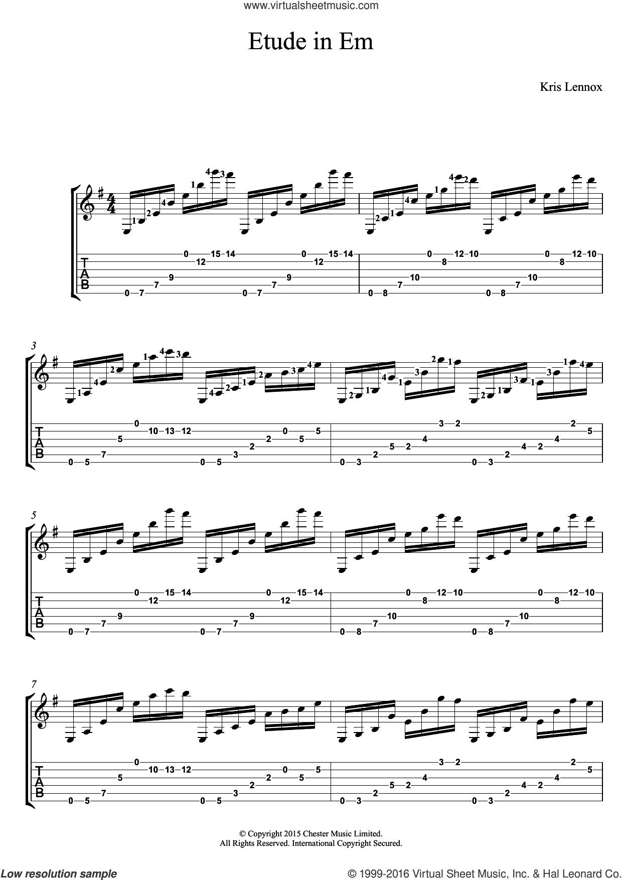 Etude In Em sheet music for guitar (tablature) by Kris Lennox. Score Image Preview.