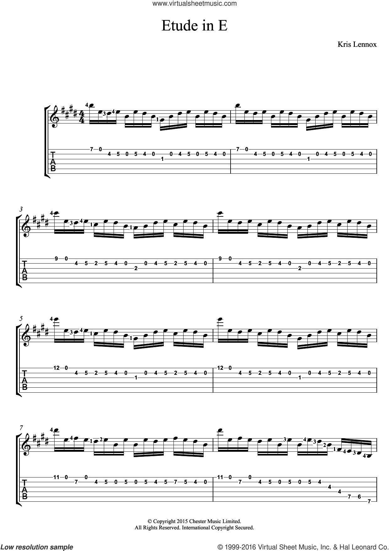 Etude In E sheet music for guitar (tablature) by Kris Lennox. Score Image Preview.