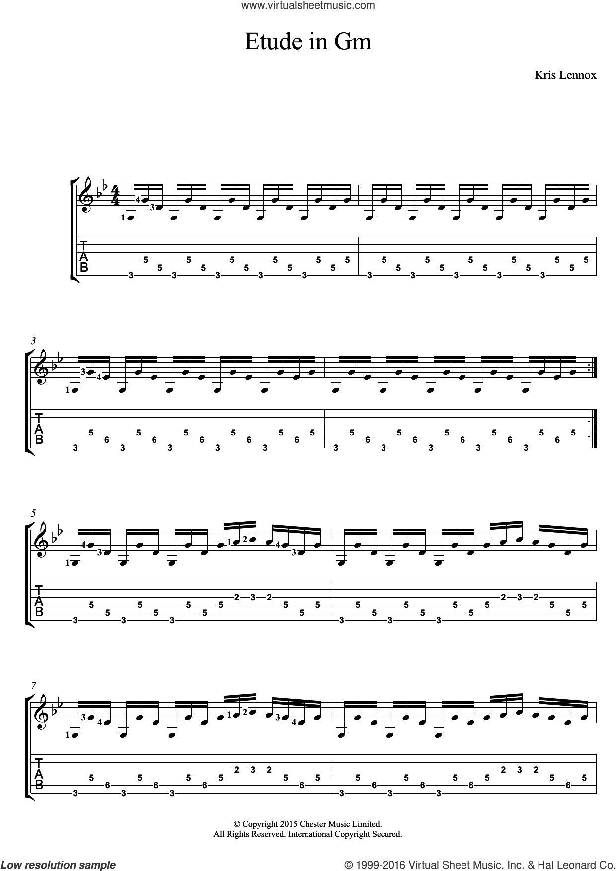 Etude In Gm sheet music for guitar (tablature) by Kris Lennox, intermediate. Score Image Preview.