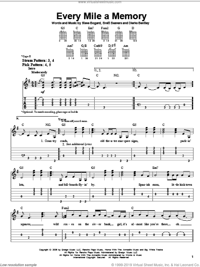 Every Mile A Memory sheet music for guitar solo (easy tablature) by Dierks Bentley, Brett Beavers and Steve Bogard, easy guitar (easy tablature). Score Image Preview.