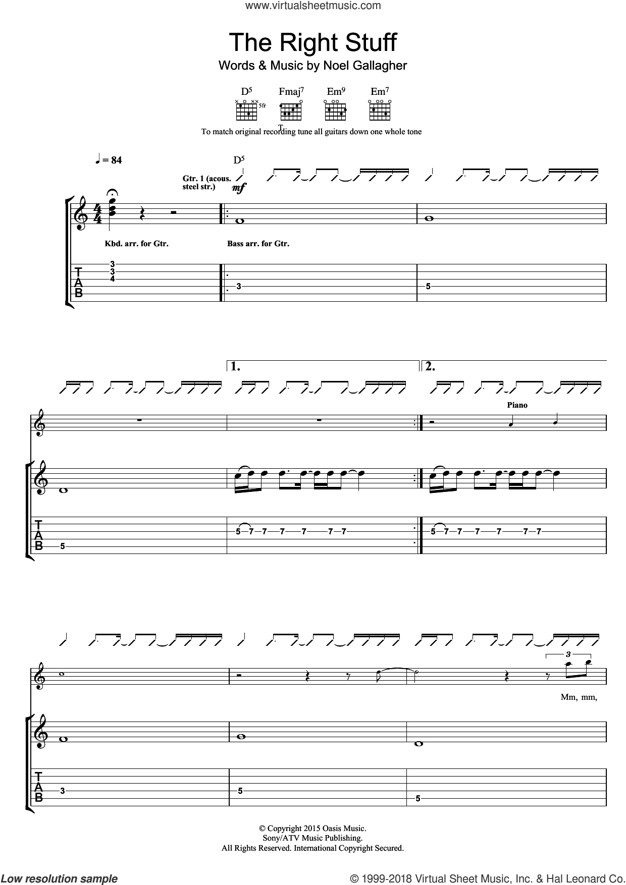 The Right Stuff sheet music for guitar (tablature) by Noel Gallagher's High Flying Birds and Noel Gallagher, intermediate skill level