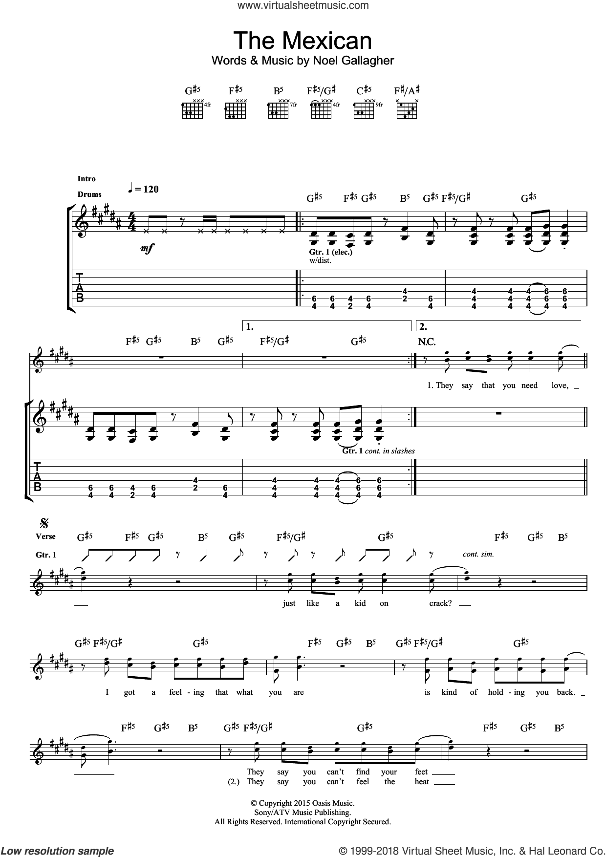 The Mexican sheet music for guitar (tablature) by Noel Gallagher's High Flying Birds and Noel Gallagher. Score Image Preview.