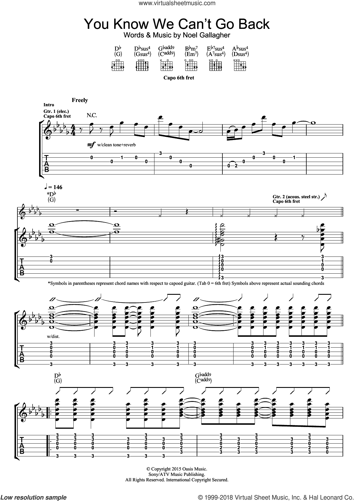 You Know We Can't Go Back sheet music for guitar (tablature) by Noel Gallagher's High Flying Birds and Noel Gallagher. Score Image Preview.
