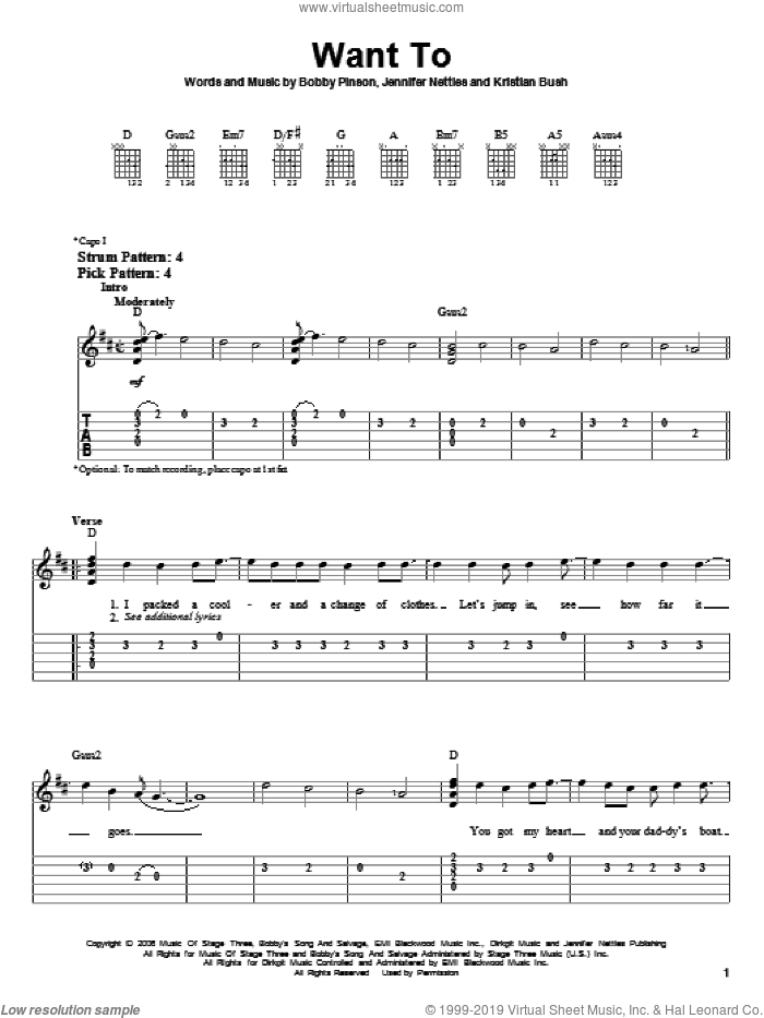Want To sheet music for guitar solo (easy tablature) by Kristian Bush