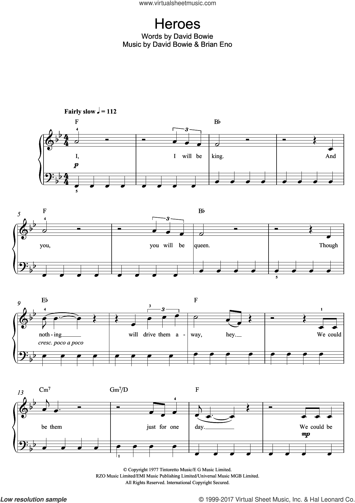 Heroes sheet music for voice, piano or guitar by David Bowie and Brian Eno, intermediate skill level