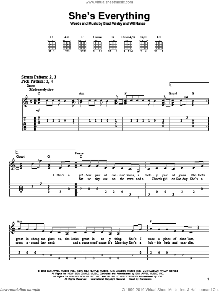 She's Everything sheet music for guitar solo (easy tablature) by Brad Paisley, easy guitar (easy tablature). Score Image Preview.