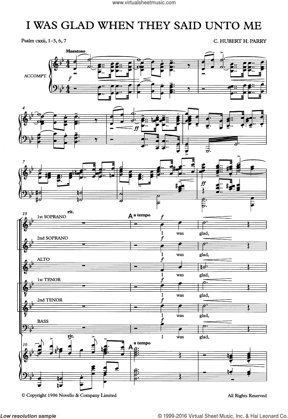 I Was Glad When They Said Unto Me sheet music for voice, piano or guitar by Hubert Parry, intermediate voice, piano or guitar. Score Image Preview.