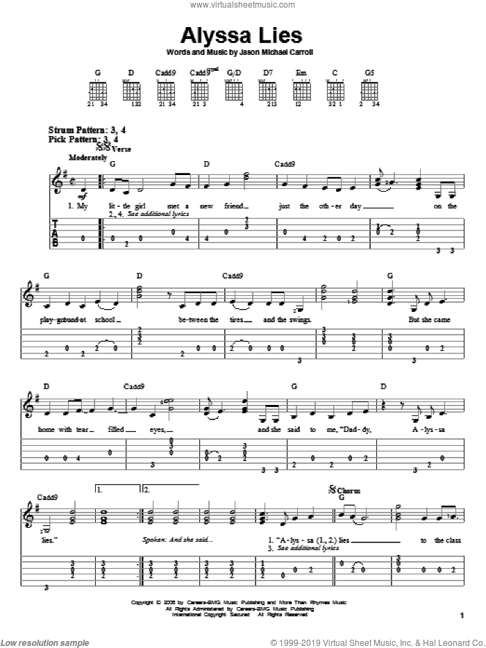 Alyssa Lies sheet music for guitar solo (easy tablature) by Jason Michael Carroll, easy guitar (easy tablature)