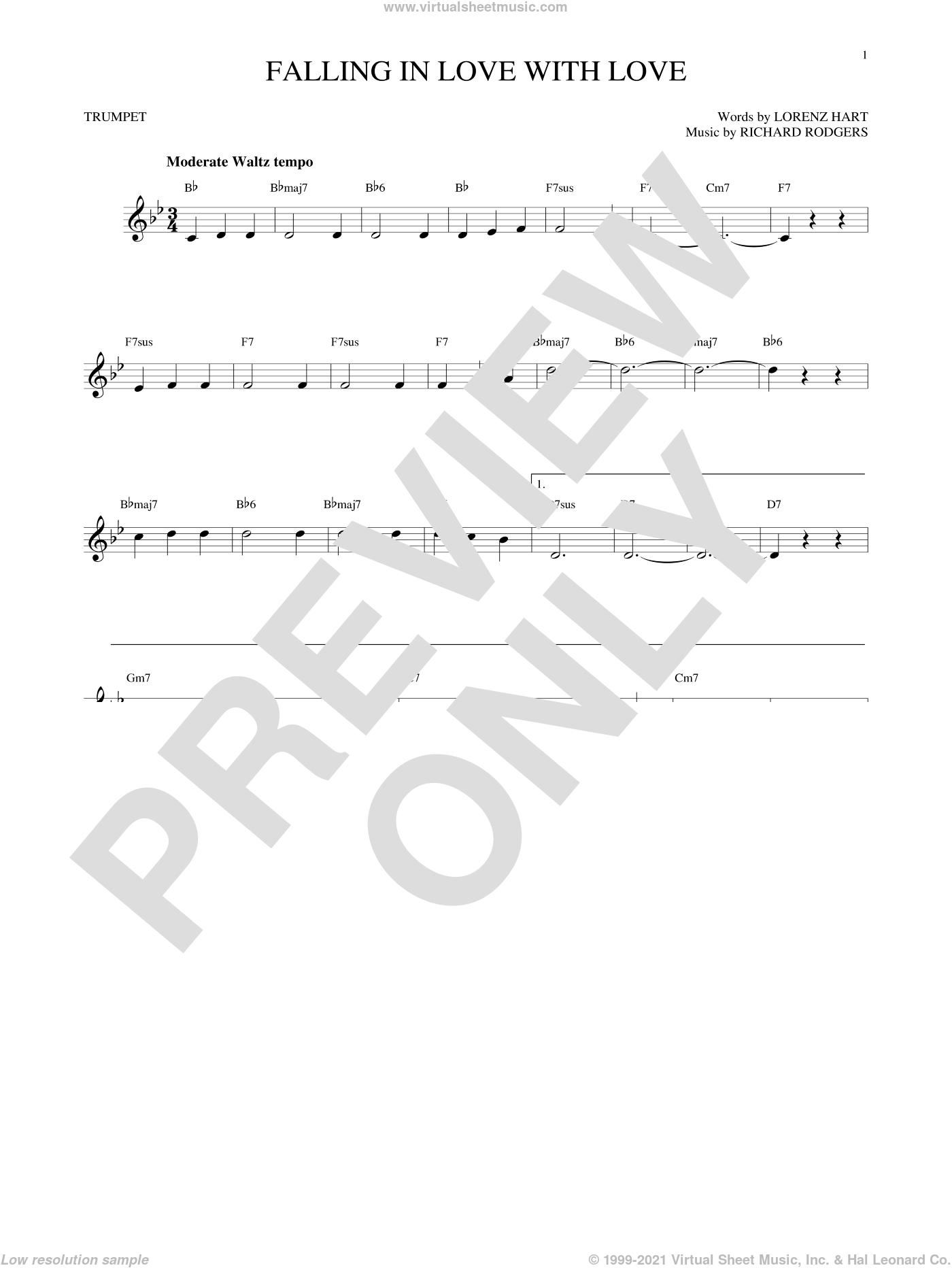 Falling In Love With Love sheet music for trumpet solo by Richard Rodgers, Lorenz Hart and Rodgers & Hart. Score Image Preview.