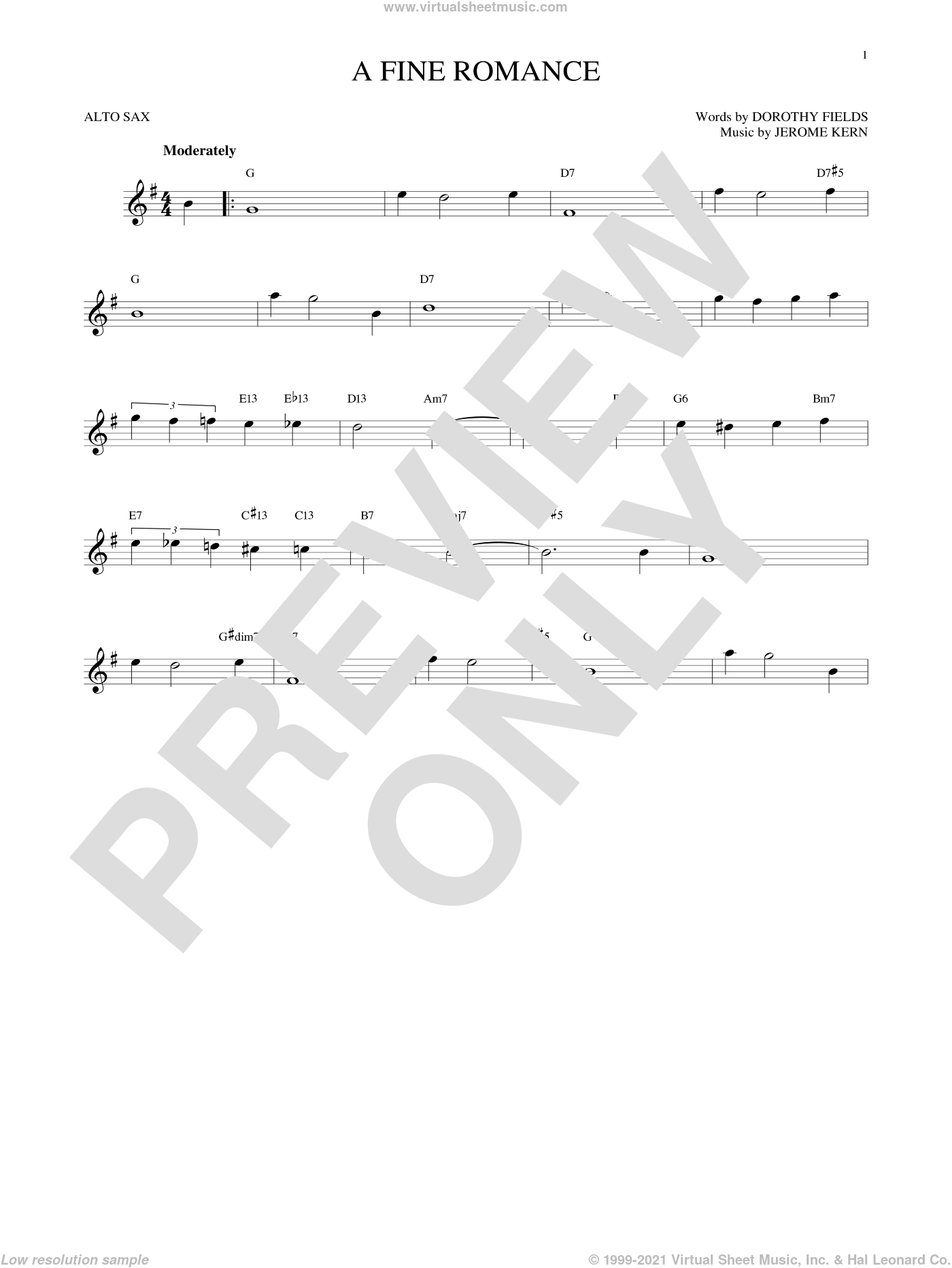 A Fine Romance sheet music for alto saxophone solo by Jerome Kern and Dorothy Fields, intermediate. Score Image Preview.
