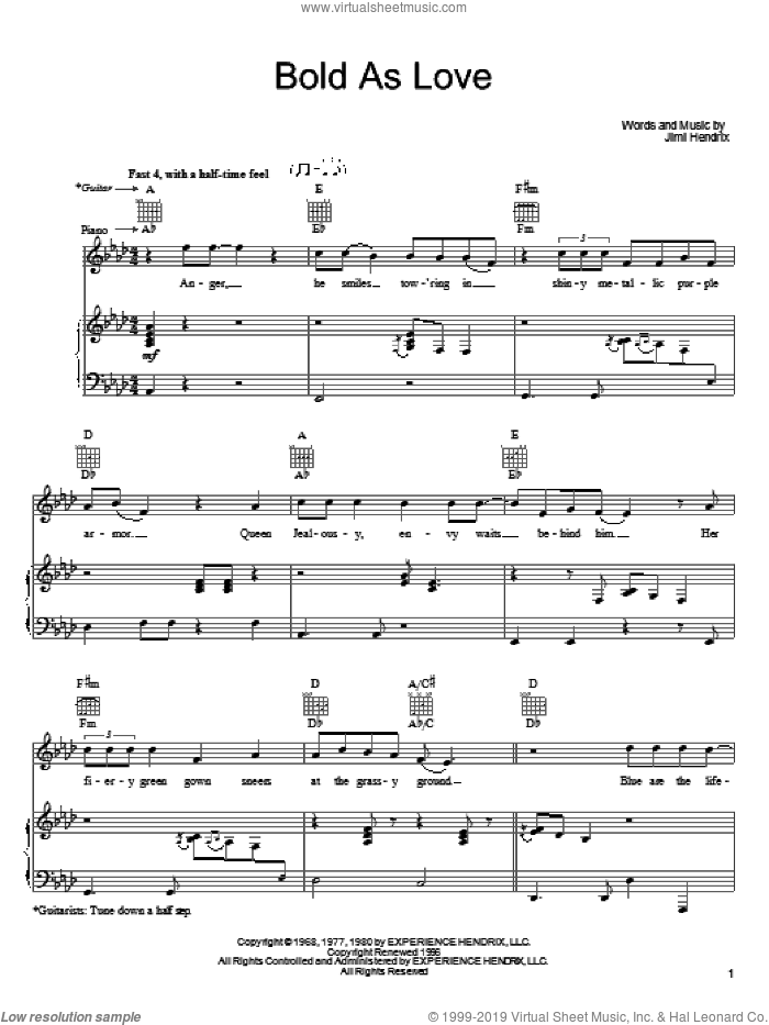 Bold As Love sheet music for voice, piano or guitar by John Mayer and Jimi Hendrix, intermediate skill level