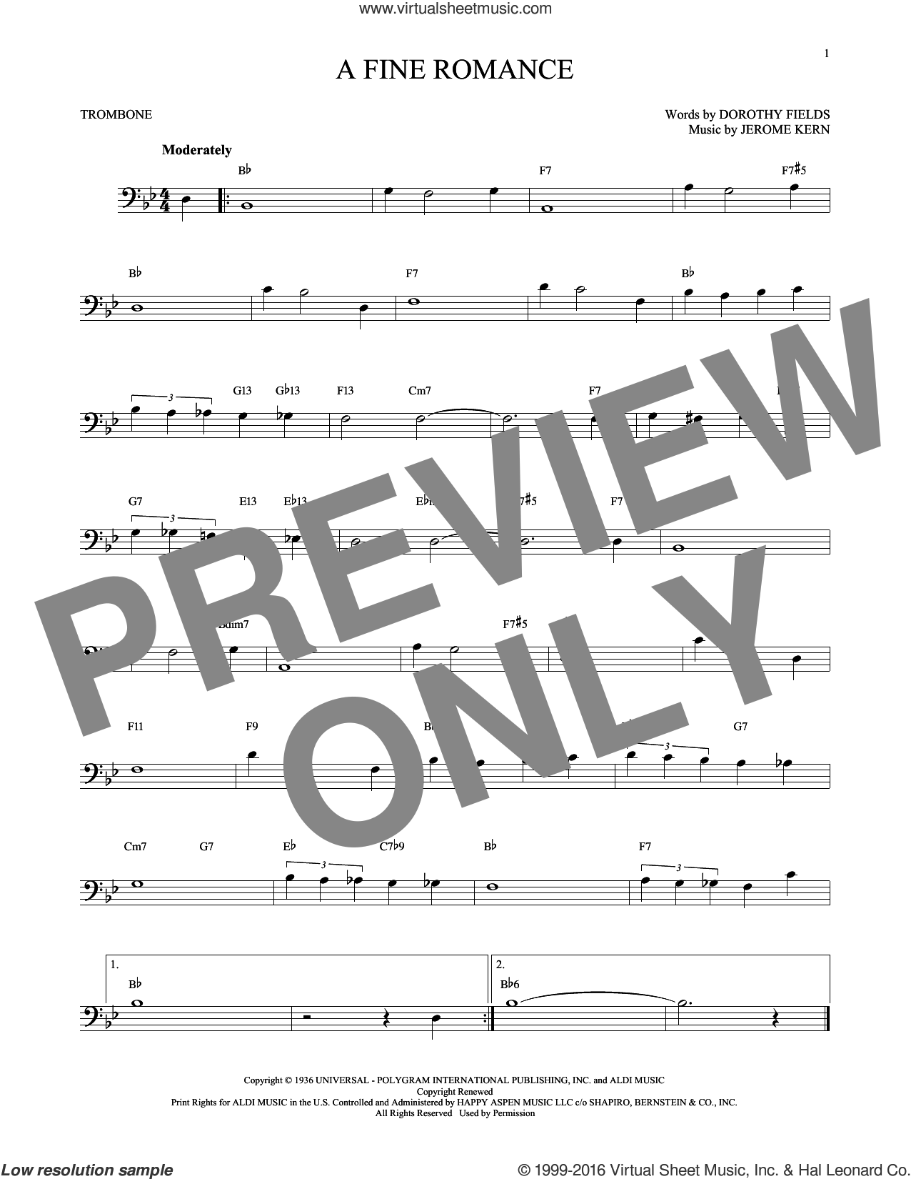 A Fine Romance sheet music for trombone solo by Jerome Kern and Dorothy Fields, intermediate. Score Image Preview.