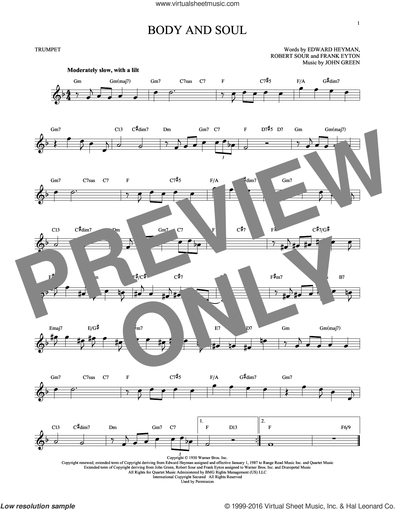Body And Soul sheet music for trumpet solo by Robert Sour, Tony Bennett & Amy Winehouse, Edward Heyman, Frank Eyton and Johnny Green. Score Image Preview.