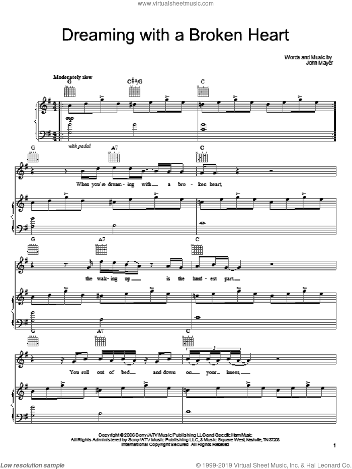 Dreaming With A Broken Heart sheet music for voice, piano or guitar by John Mayer, intermediate skill level