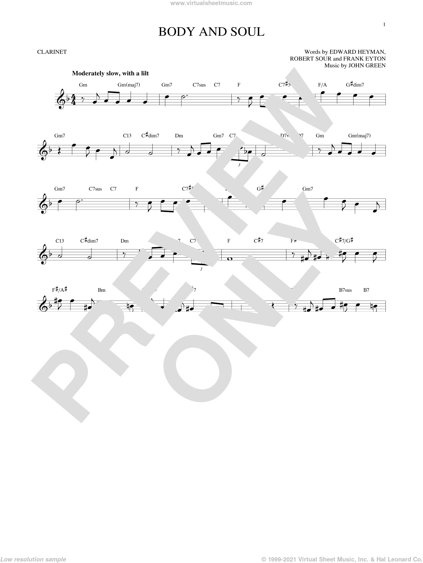 Body And Soul sheet music for clarinet solo by Edward Heyman, Tony Bennett & Amy Winehouse, Frank Eyton, Johnny Green and Robert Sour, intermediate skill level