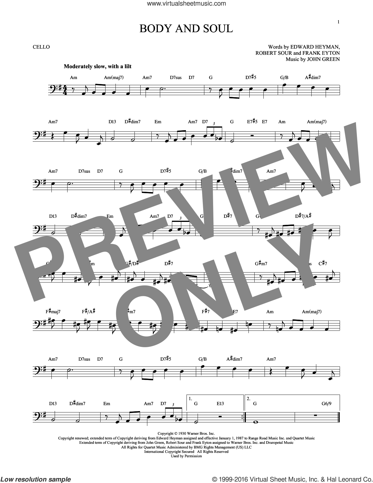 Body And Soul sheet music for cello solo by Edward Heyman, Tony Bennett & Amy Winehouse, Frank Eyton, Johnny Green and Robert Sour, intermediate skill level