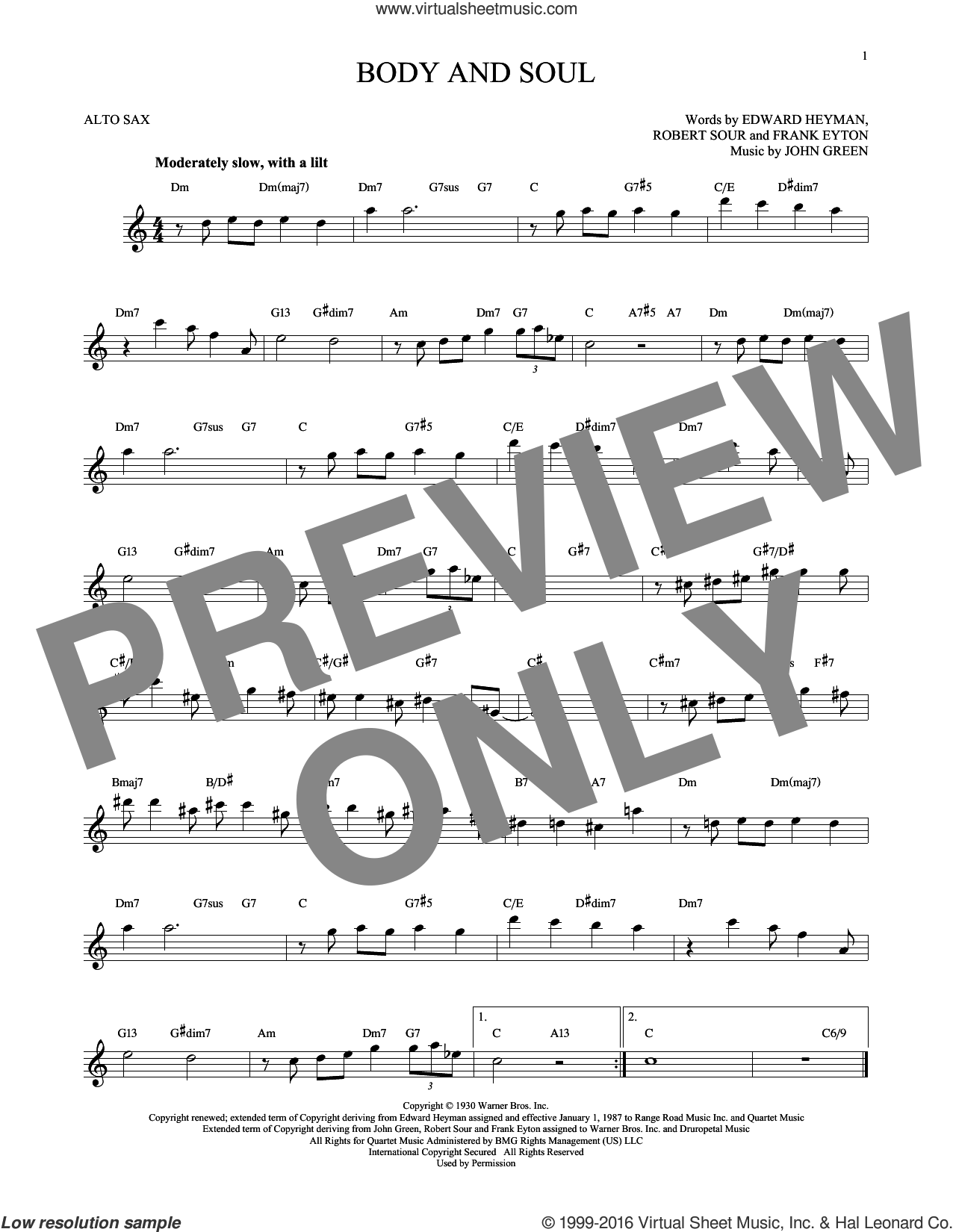 Body And Soul sheet music for alto saxophone solo by Robert Sour, Tony Bennett & Amy Winehouse, Edward Heyman, Frank Eyton and Johnny Green. Score Image Preview.