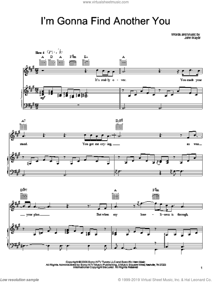 I'm Gonna Find Another You sheet music for voice, piano or guitar by John Mayer, intermediate voice, piano or guitar. Score Image Preview.