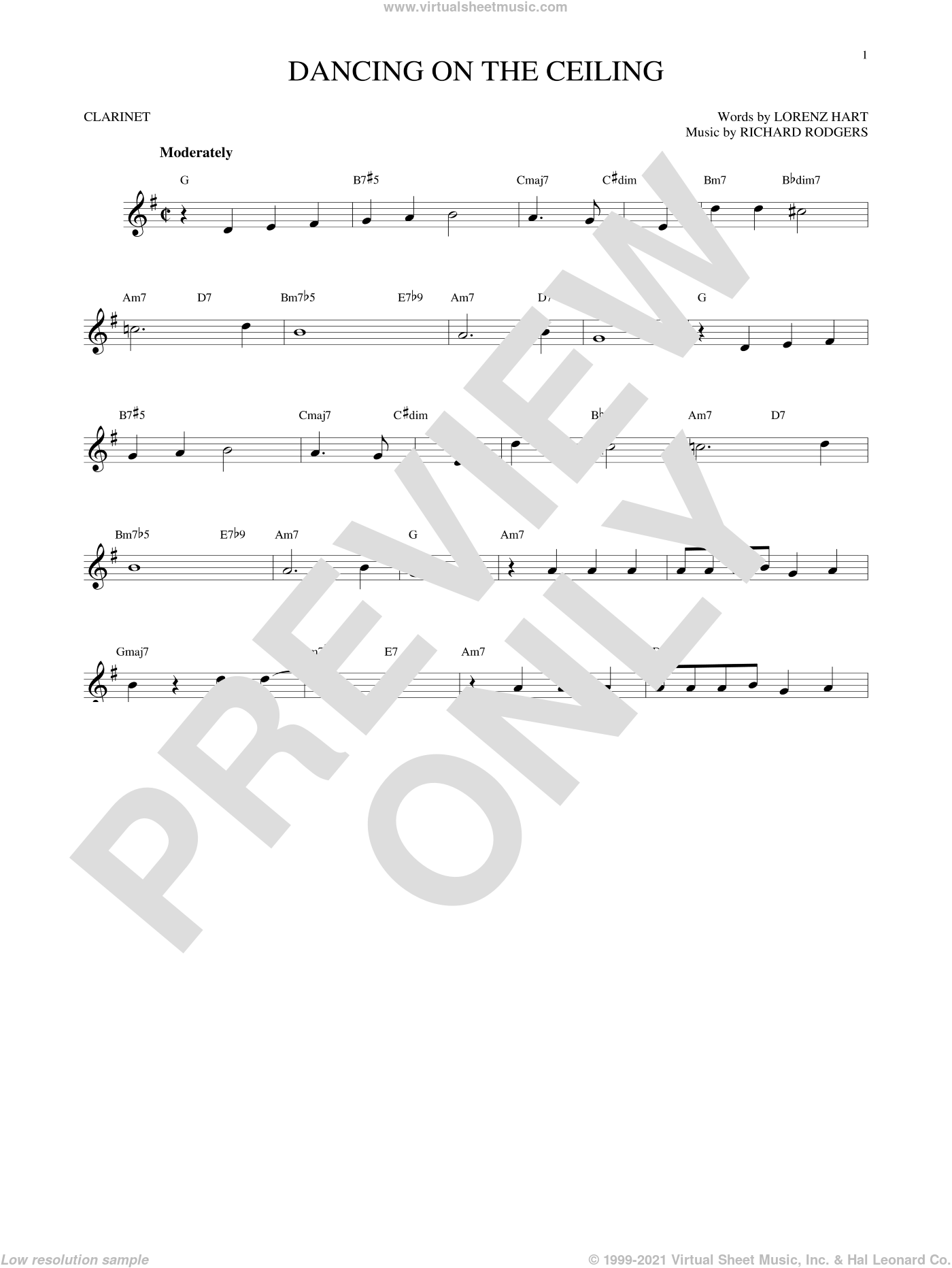 Dancing On The Ceiling sheet music for clarinet solo by Rodgers & Hart, Lorenz Hart and Richard Rodgers, intermediate skill level