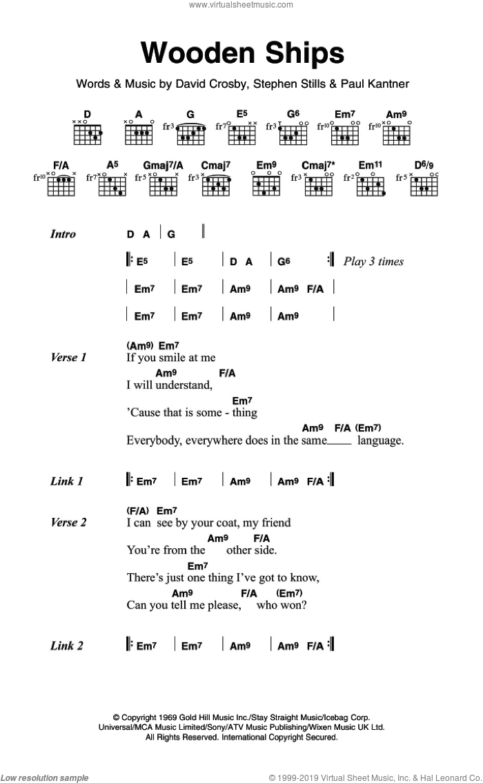 Wooden Ships sheet music for guitar (chords) by Crosby, Stills & Nash and Stephen Stills, intermediate guitar (chords). Score Image Preview.