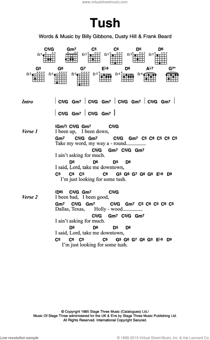 Tush sheet music for guitar (chords) by ZZ Top, Billy Gibbons, Dusty Hill and Frank Beard, intermediate. Score Image Preview.