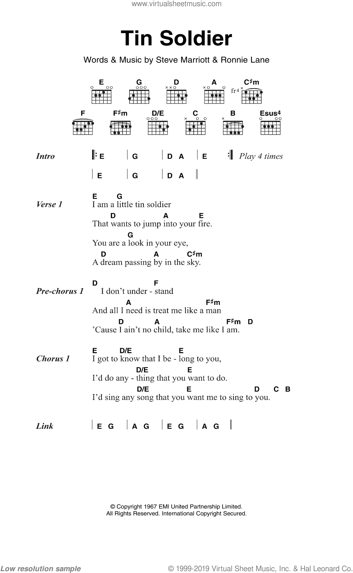 Tin Soldier sheet music for guitar (chords) by The Small Faces, Ronnie Lane and Steve Marriott, intermediate skill level