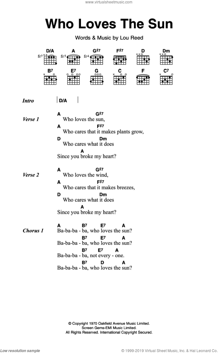 Who Loves The Sun sheet music for guitar (chords) by The Velvet Underground and Lou Reed, intermediate guitar (chords). Score Image Preview.