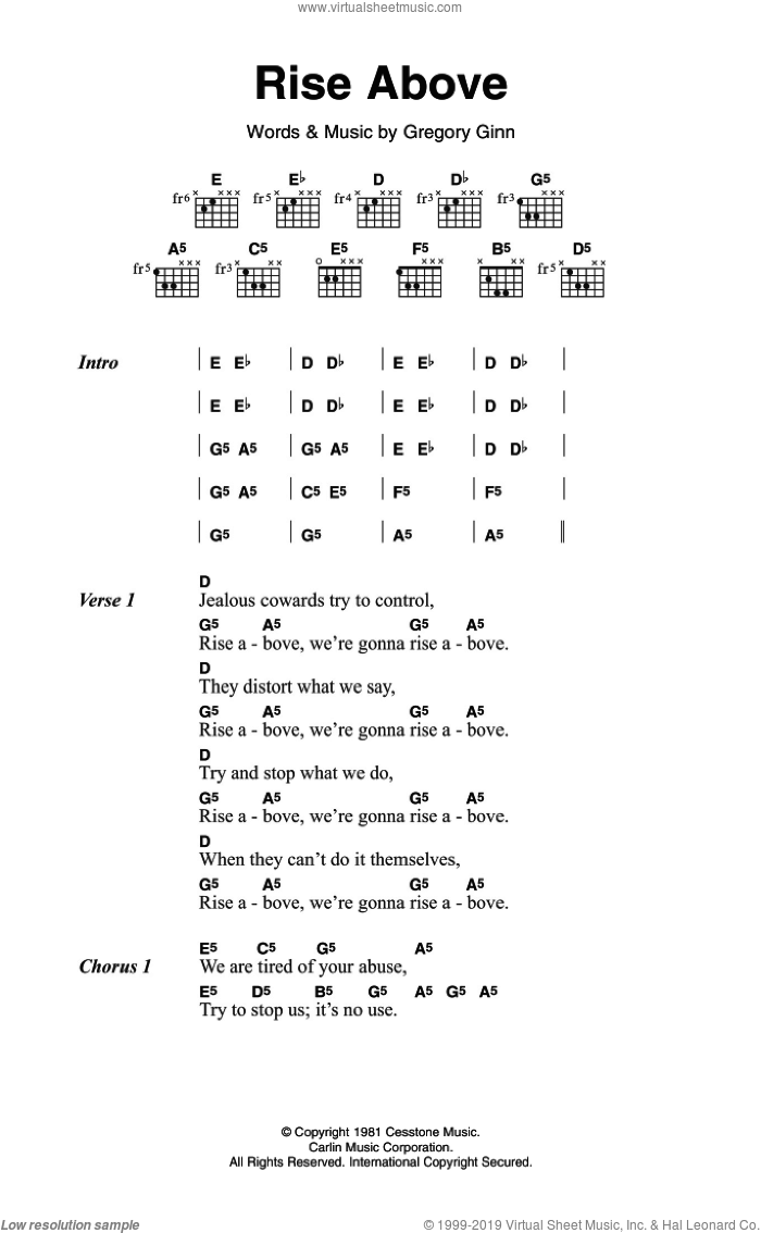 Rise Above sheet music for guitar (chords) by Black Flag, intermediate. Score Image Preview.