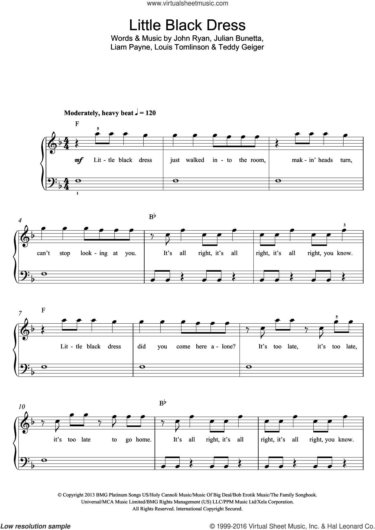 Little Black Dress sheet music for voice, piano or guitar by One Direction, John Ryan, Julian Bunetta, Liam Payne, Louis Tomlinson and Teddy Geiger, intermediate voice, piano or guitar. Score Image Preview.