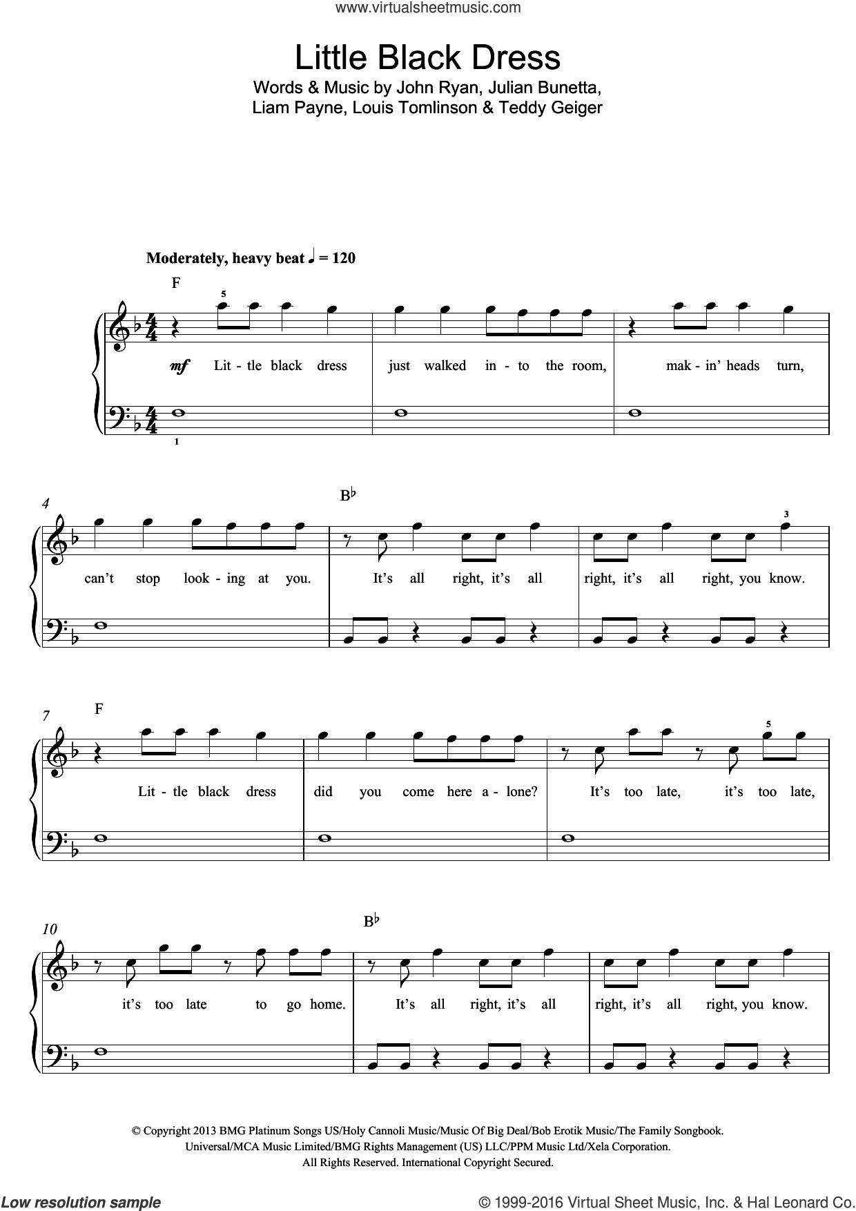 Little Black Dress sheet music for voice, piano or guitar by One Direction, John Ryan, Julian Bunetta, Liam Payne, Louis Tomlinson and Teddy Geiger, intermediate skill level