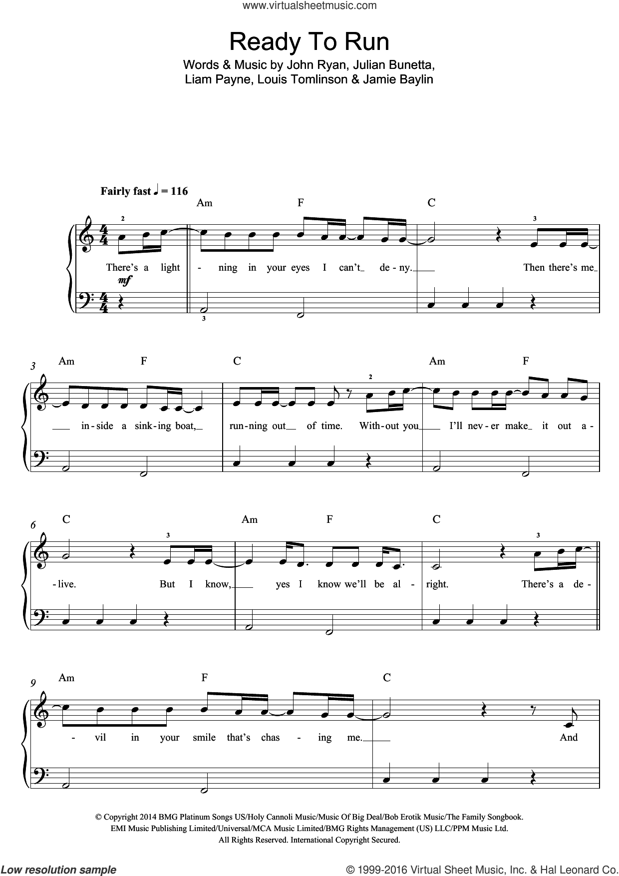 Ready To Run sheet music for piano solo by Jamie Baylin, One Direction, John Ryan, Julian Bunetta and Louis Tomlinson. Score Image Preview.