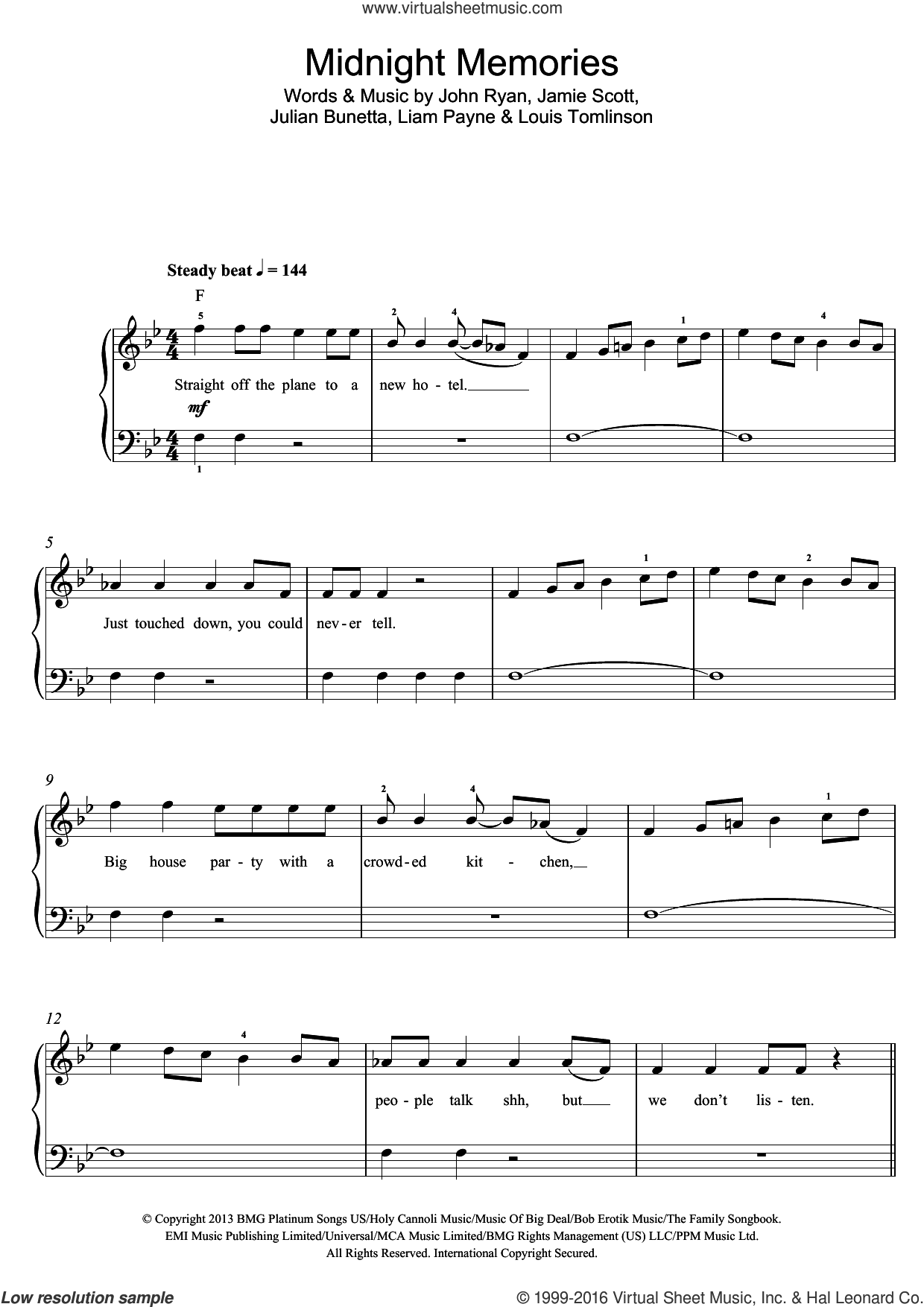 Midnight Memories sheet music for voice, piano or guitar by One Direction, Jamie Scott, John Ryan, Julian Bunetta, Liam Payne and Louis Tomlinson, intermediate skill level