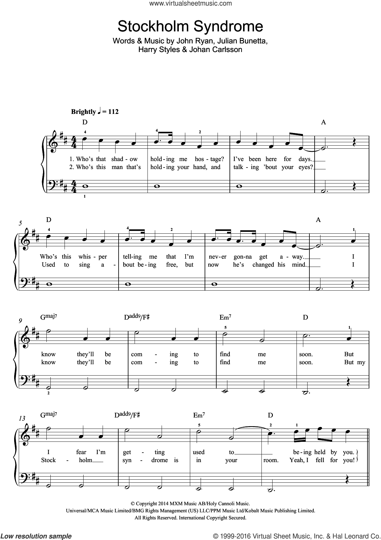 Stockholm Syndrome sheet music for voice, piano or guitar by Harry Styles, One Direction, Johan Carlsson, John Ryan and Julian Bunetta. Score Image Preview.