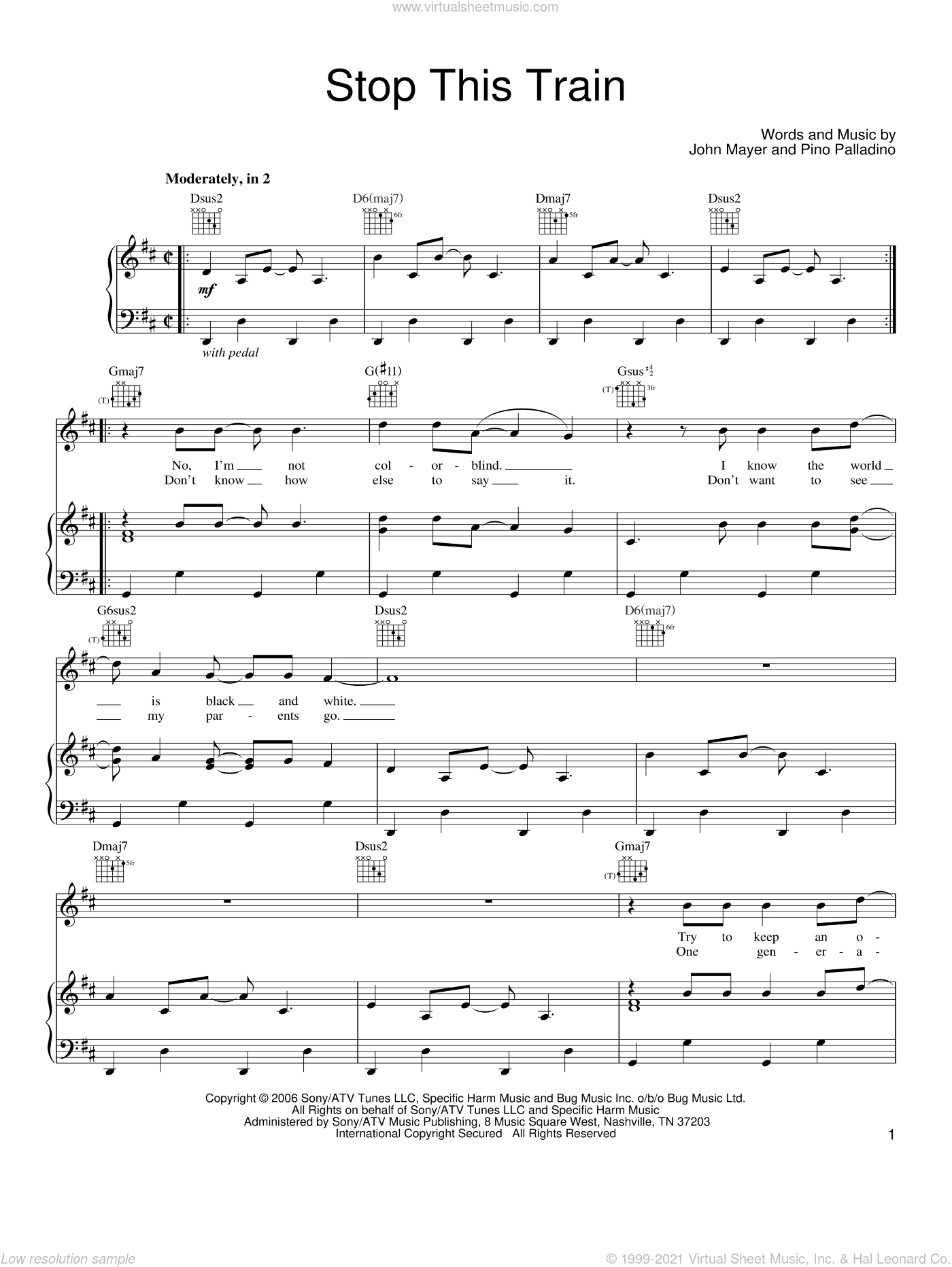 Stop This Train sheet music for voice, piano or guitar by John Mayer and Pino Palladino, intermediate skill level