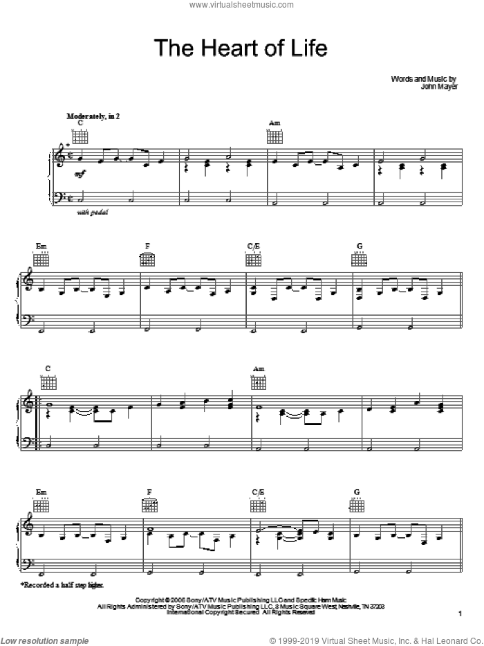 The Heart Of Life sheet music for voice, piano or guitar by John Mayer, intermediate. Score Image Preview.