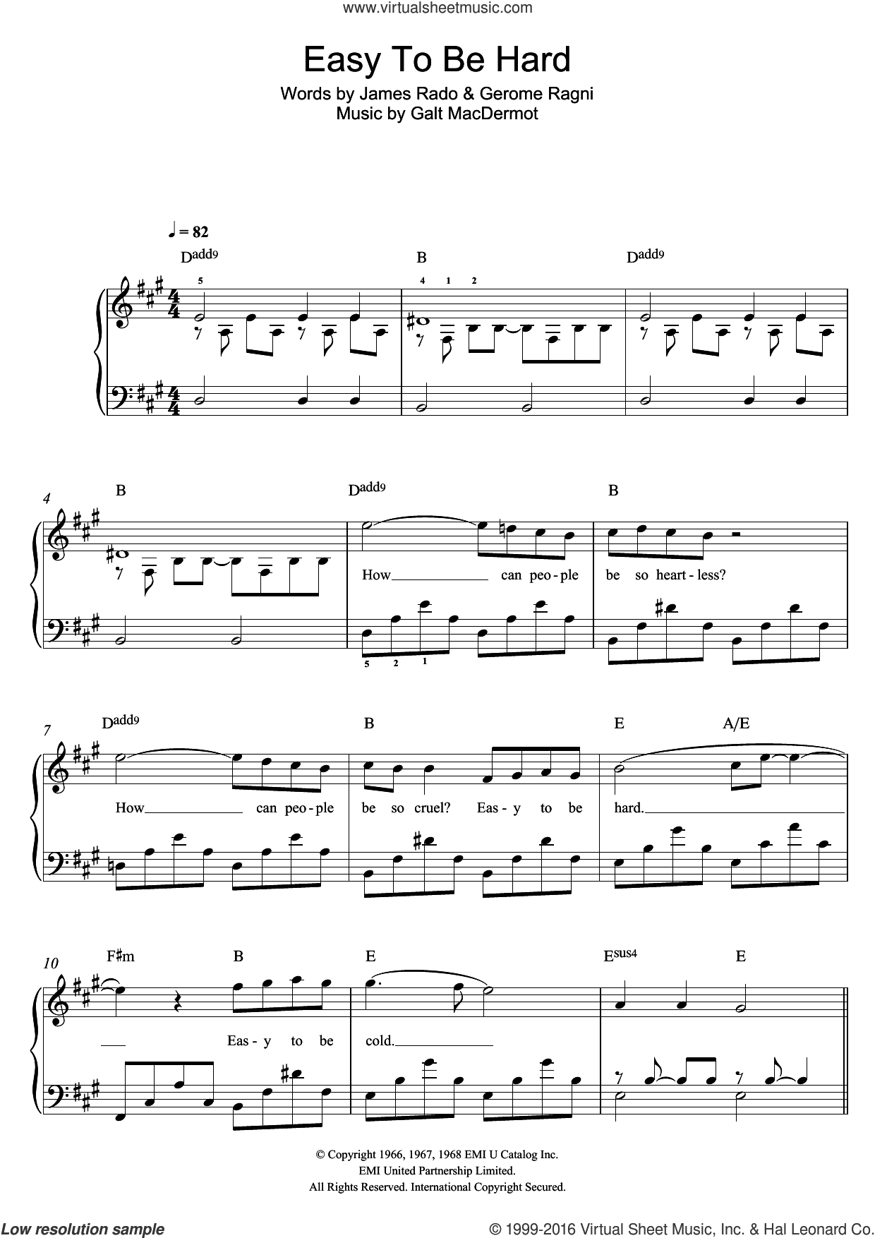 Easy To Be Hard (from 'Hair') sheet music for piano solo by James Rado, Galt MacDermot and Gerome Ragni. Score Image Preview.